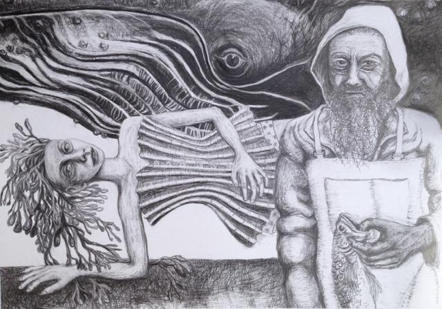Whale, Bone. Woman, Fisherman