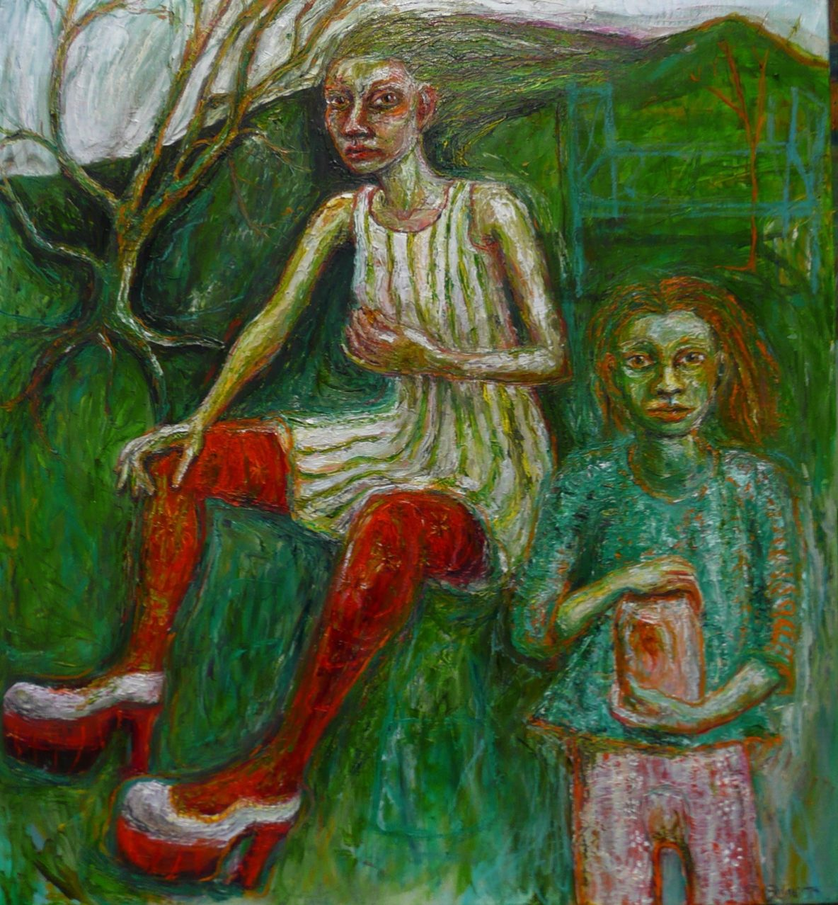 Woman and child with firefly