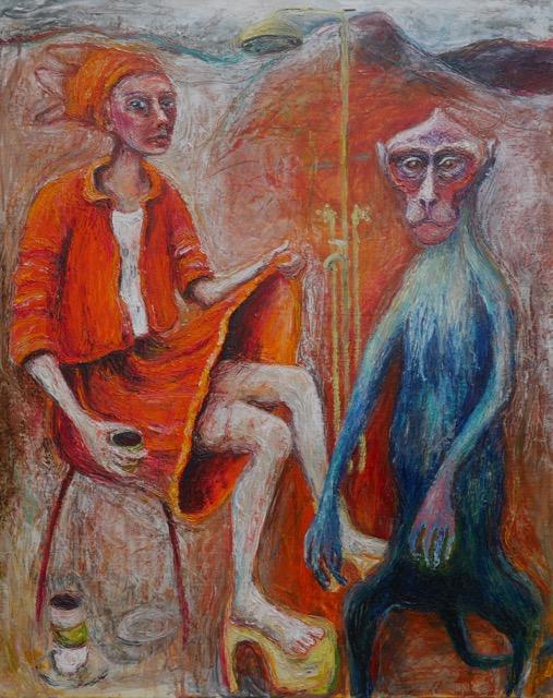 Woman lifts Skirt to Blue Monkey